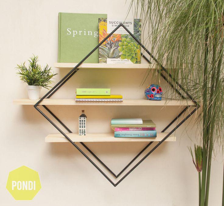 Hermoso y práctico estante en Hierro y Madera. Pone libros, plantitas, adornos…