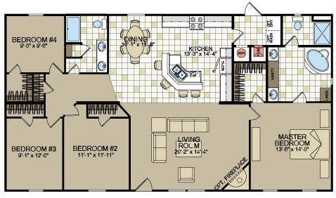 Best 25 double wide mobile homes ideas on pinterest for Double wide 4 bedroom floor plans