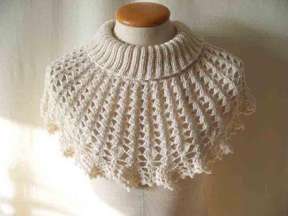 White cowl/capelet knitting/crochet pattern by BernioliesDesigns