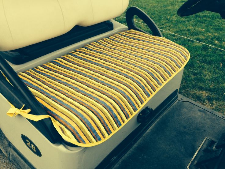 Golf cart seat cover made with quilted fabric & blinded with bias tape....quick DIY!