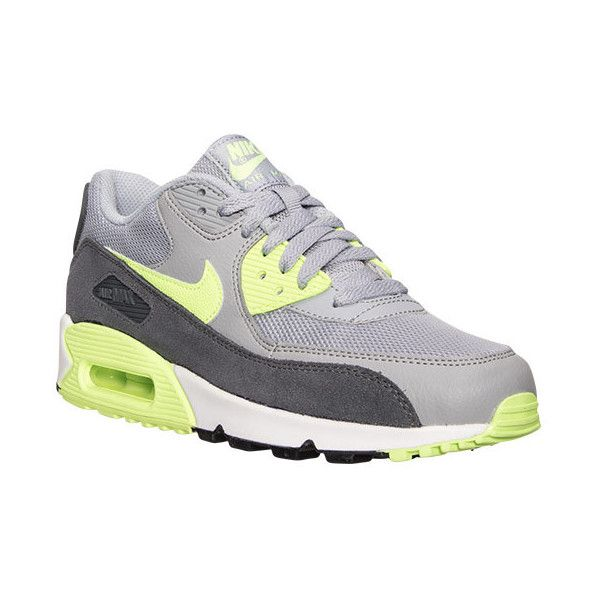 Nike Women's Air Max 90 Essential Running Shoes (155 CAD) ❤ liked on Polyvore featuring shoes, athletic shoes, print shoes, athletic running shoes, mesh shoes, grey shoes and green athletic shoes