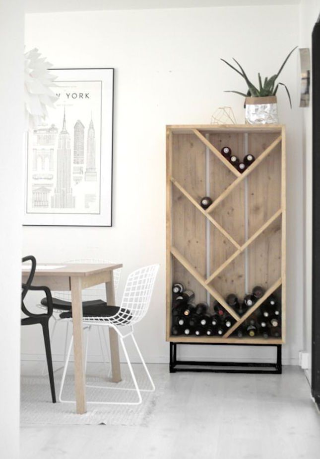 14 Chic DIY Wine Racks for Your Vino Collection via Brit + Co                                                                                                                                                                                 More