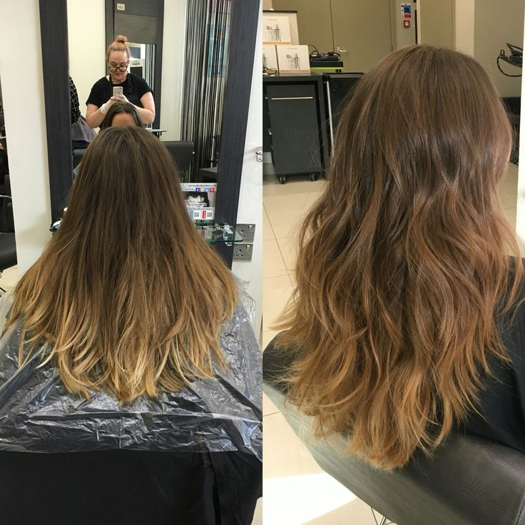 New hair balayage subtle brown blonde highlights to cover and tone down ombré saks Aberdeen transformation before and after