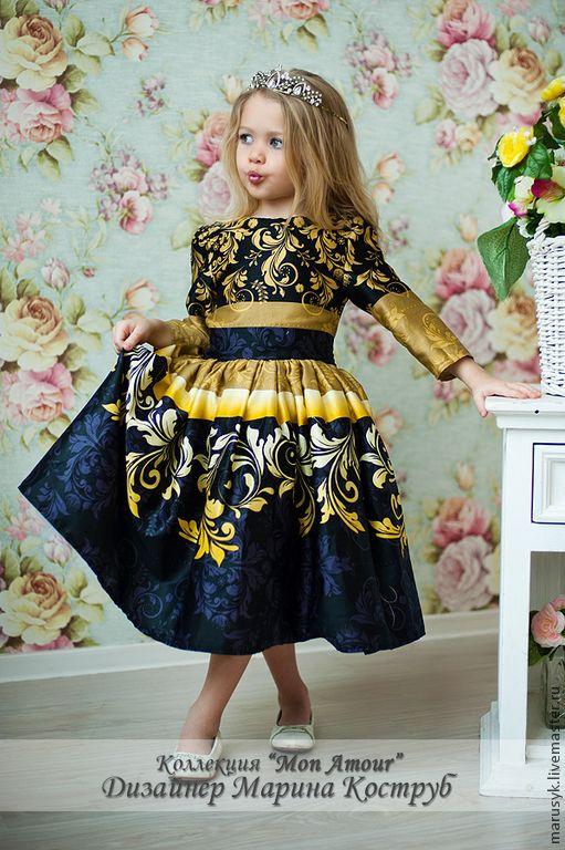 Купить Платье Мелани - золотой, орнамент, платье на выпускной, Платье нарядное, платье для девочки