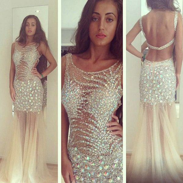 Sparkly Crystal Beading vestidos de fiesta 2014 Long Boat Neck Sexy Backless Slim Sheer Prom Dresses $189.90