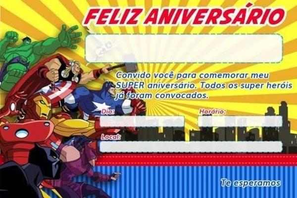 Convite Vingadores Convite Super Herois Convite