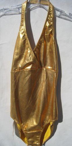 Sansha Gold Leotard Dance Festival EDM Indie sz 3 Adult NWT Disco Glam Halter