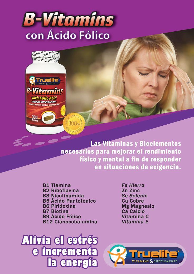 B-Vitamins with Folic Acid.  Alivia el estrés e incrementa la energía!