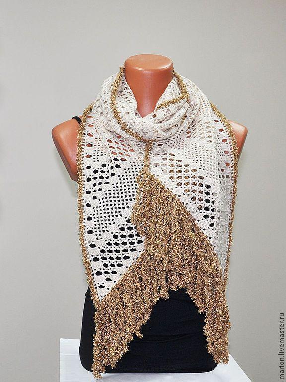Купить Шарф с бахромой - бежевый, шарф, шарф женский, шарф вязаный, Вязание крючком