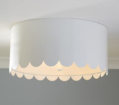 """Scalloped White Metal Flushmount #pbkids; A pretty finishing touch to her room, our flushmount has a frosted diffuser to create a soft, pleasing light from any angle. 12"""" diameter, 5.5"""" high;  diffuser?  paint color?"""
