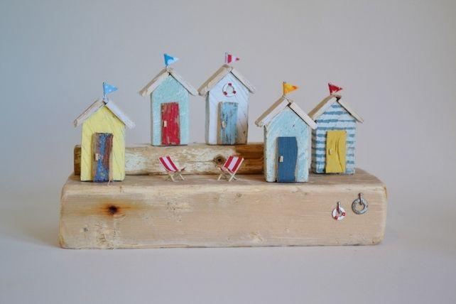 Handmade Driftwood Beach Hut Scene. Red, Blue, Yellow, White. Seaside Decor £35.00