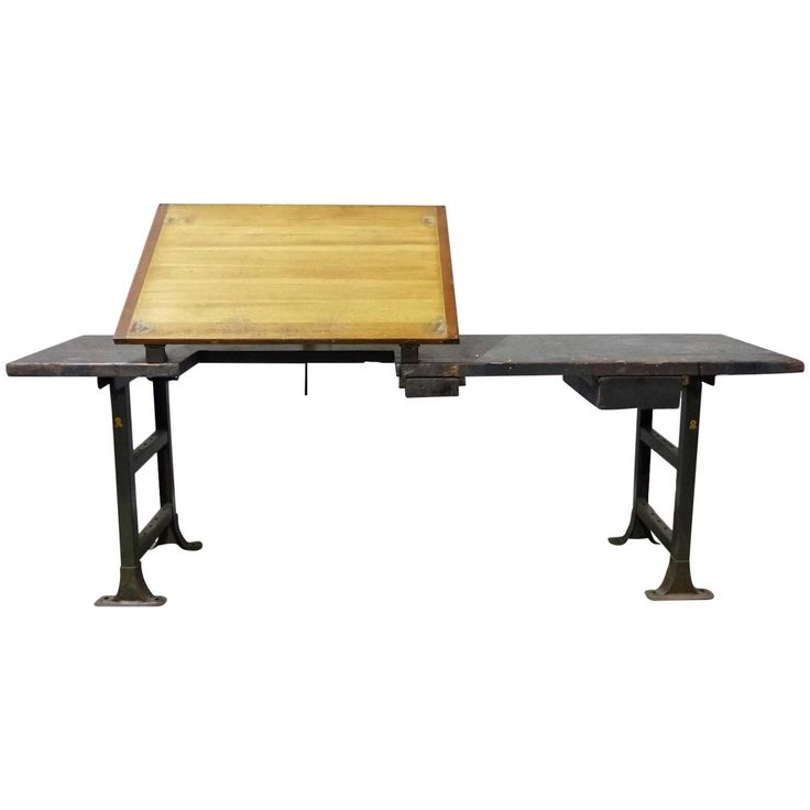 Industrial Drafting Table Work Station | See more antique and modern Industrial and Work Tables at https://www.1stdibs.com/furniture/tables/industrial-work-tables