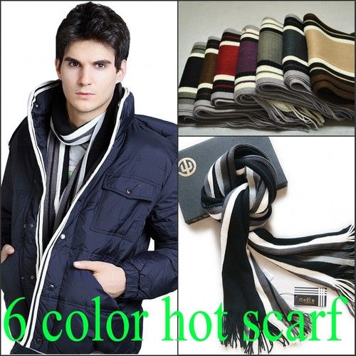 2013 Fashion Mixed Colors Winter Warm Fringe Striped Mens Cashmere Scarf | eBay