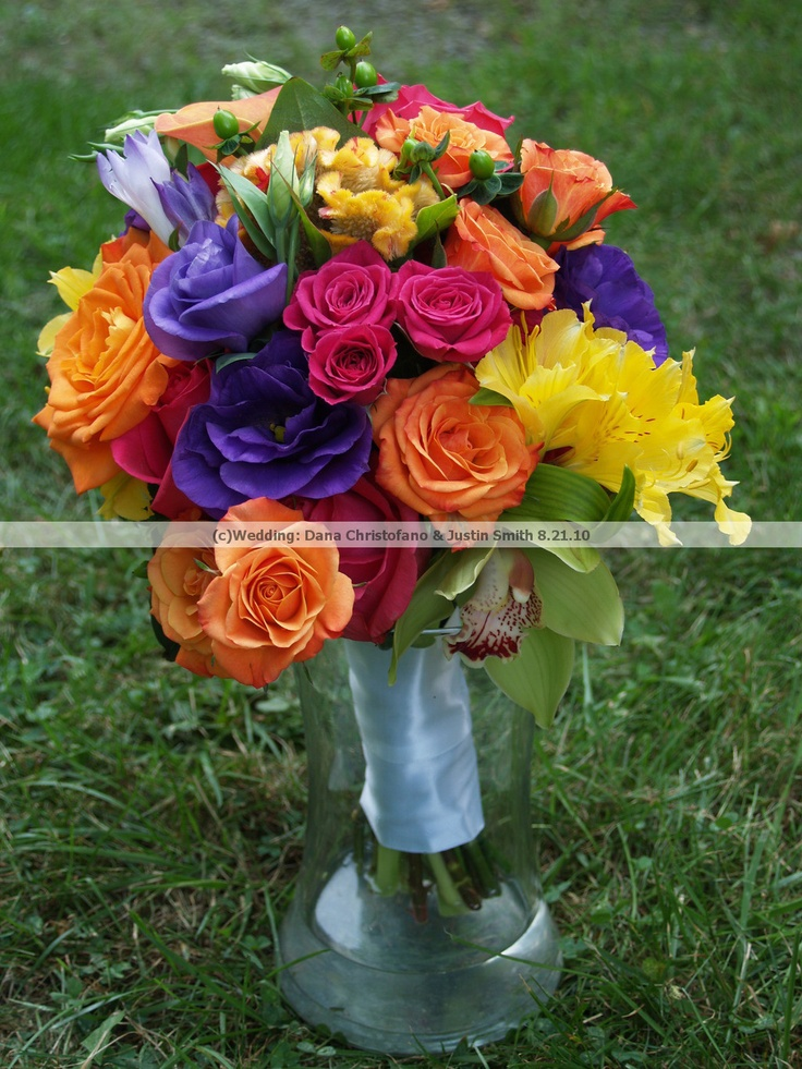 [Wedding: Dana Christofano & Justin Smith] Bridesmaid's Bouquets - orange and pink roses and spray roses, yellow alstroemeria, purple lisianthus, green cymbidium orchids, green hypericum berries, celosia (Flowers by Allison Davies of Floral Occasions) Summer/August wedding