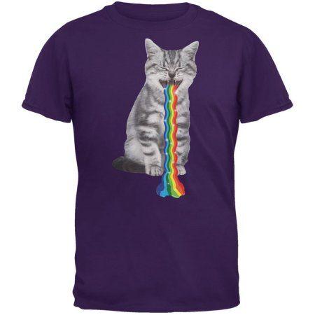 Rainbow Vomit Cat Purple Adult T-Shirt - Walmart.com
