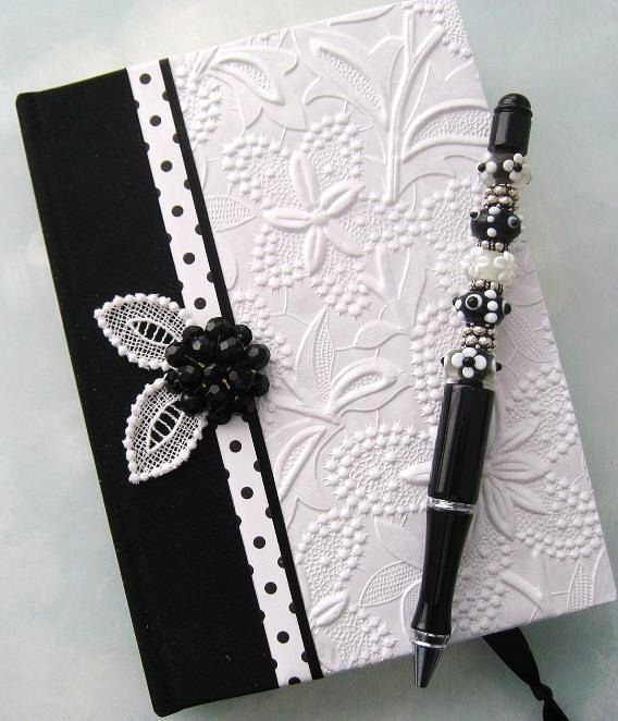 Handmade Journal Black and White Floral Textured with by Daisyblu, $45.00