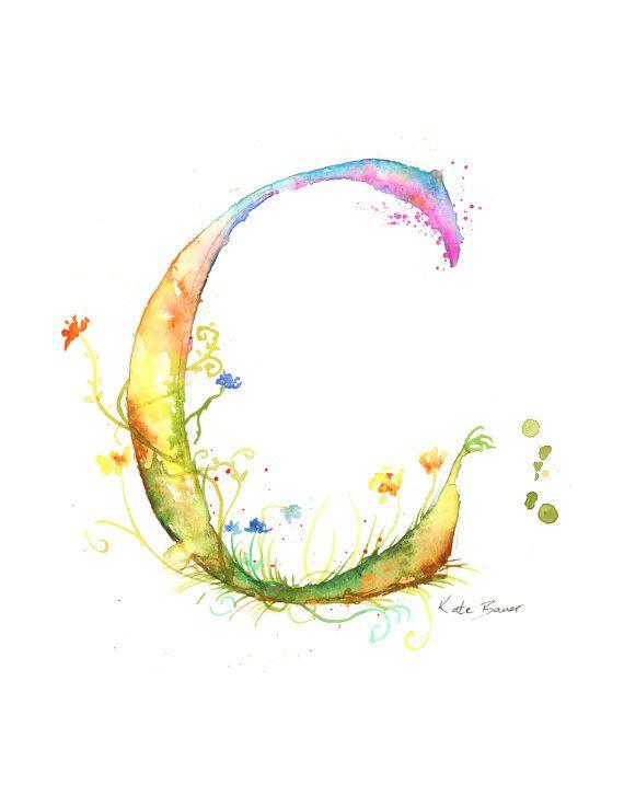 Letter C - Watercolor Monogram - Flower Lettering - Watercolor Letter Print - Watercolor Initial