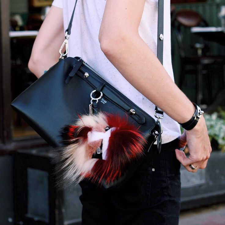 Fendi 'By The Way' back in black leather with fur Bag Bug. Street style the @samuelwthomas way.