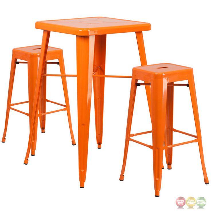 Square Orange Metal Outdoor Bar Table Set W/ 2 Square Seat Backless Barstools #FlashFurniture #Transitional