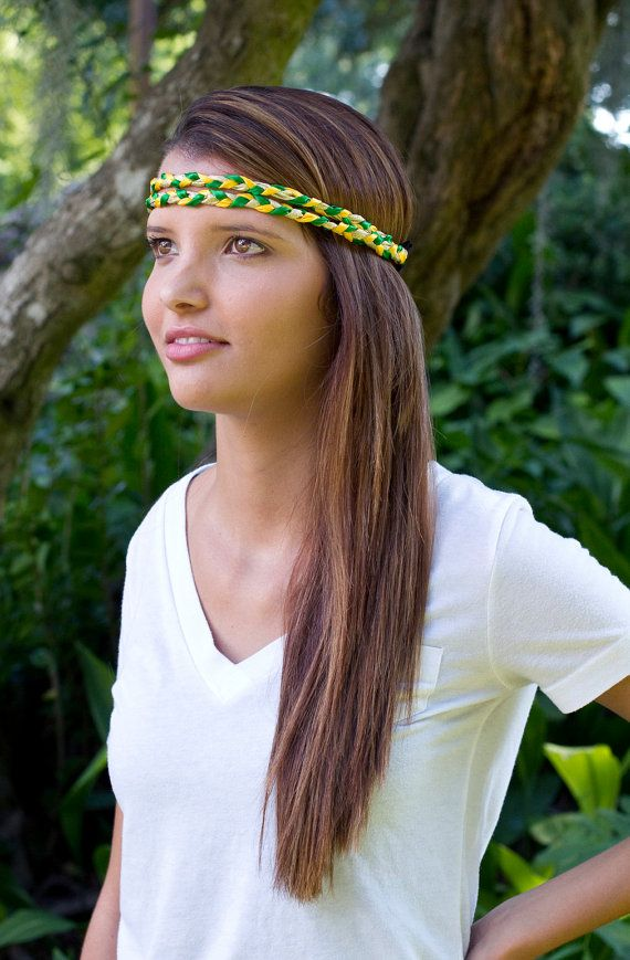The Green and Gold Double Braided Hipster Headband **Sold for $13**