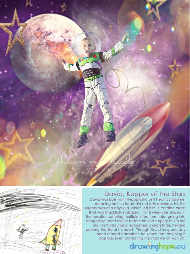 David, Keeper of The Stars    The Drawing Hope Project takes drawings by children born or living with health conditions and transforms them into real-life, magical photos starring themselves, showing them anything is possible! www.facebook.com/drawinghopeproject | Photography and concept by Shawn Van Daele