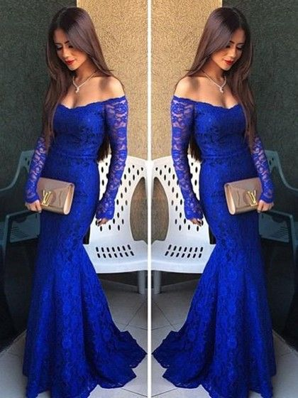 Royal Blue Lace Long Sleeve Off-the-shoulder Trumpet/Mermaid Prom Dress #JCD020102214