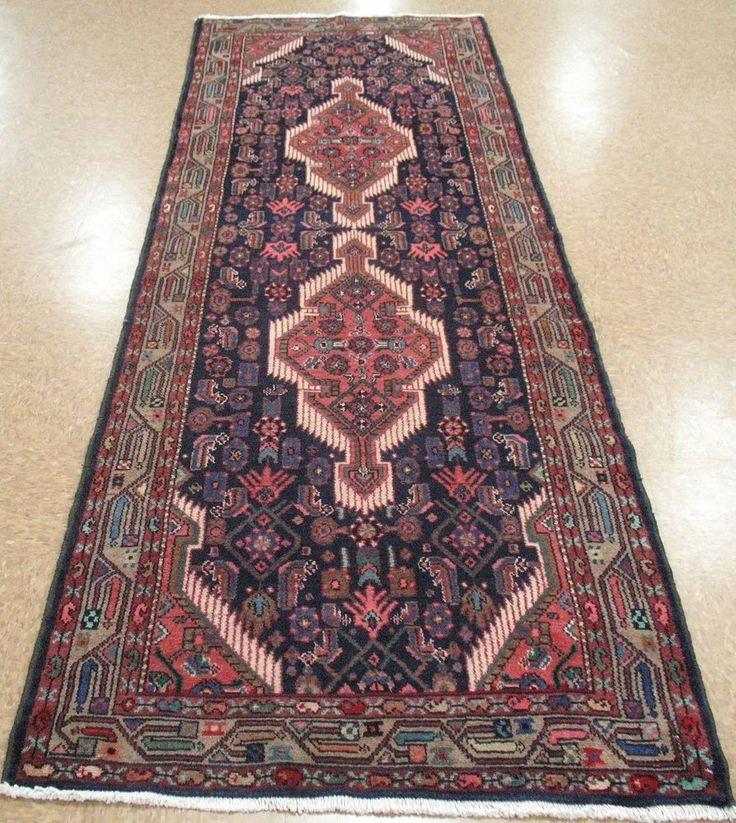 3 3  x 10 1  PERSIAN HAMEDAN Tribal Hand Knotted Wool NAVY Runner Oriental Rug