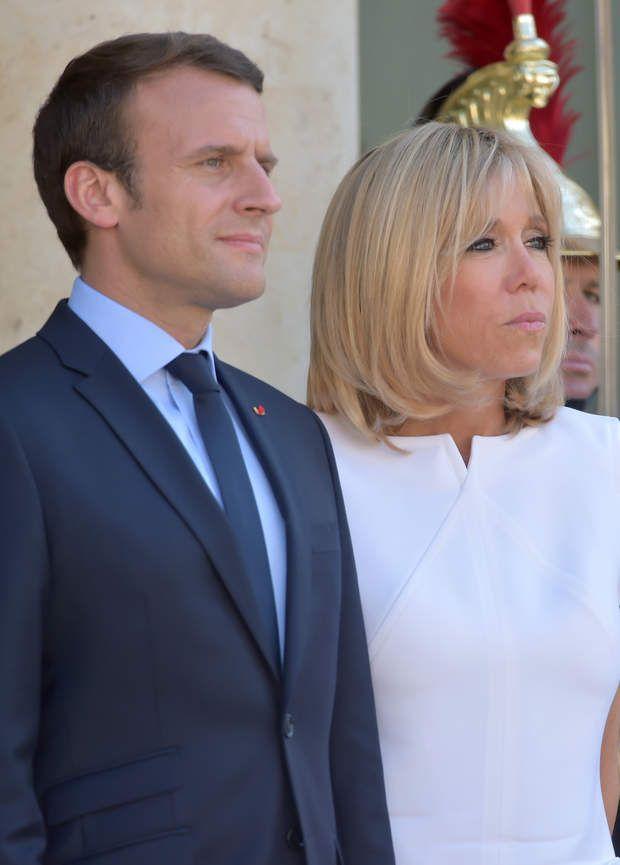 Le président de la République française Emmanuel Macron et sa femme, la première dame Brigitte Macron