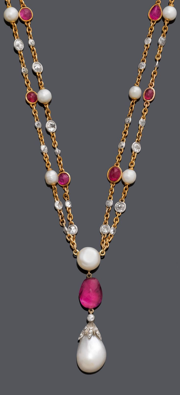 An Antique Gold, Platinum, Natural Pearl, Ruby And Diamond Necklace, Circa  1900