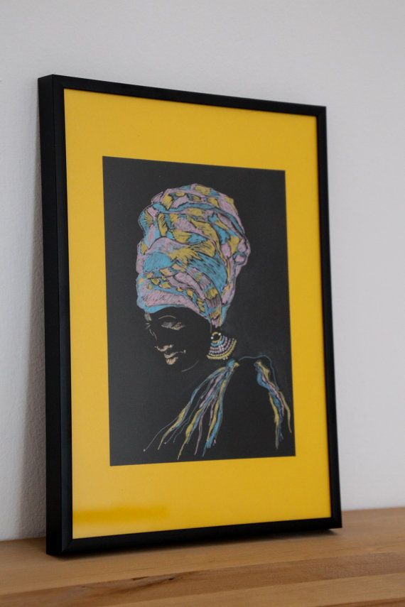 The Black Beauty in a Headwrap. African black woman drawing can be a special gift for a birthday or an anniversary.  This is the original drawing, not a print or reproduction.  Gell pens on black paper   SIZE: 5.83 x 8.27 inch (14.8x 21 cm)  Artist signed (on the back)  THE FRAME AND THE YELLOW BACKGROUND ARE NOT INCLUDED Please contact me if you would like to purchase The Black Beauty framed as seen in te picture.  Please note that your monitor may display the colors slightly different…