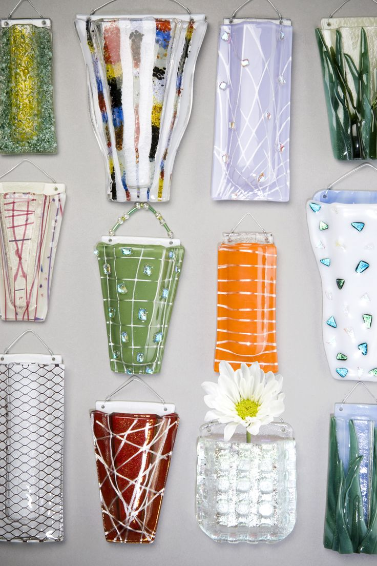 www.glasspocket.com fused glass wall vases