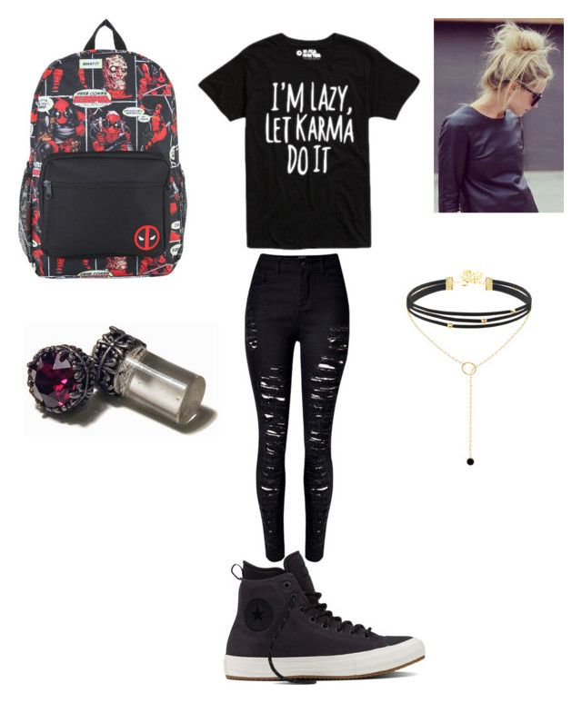 """""""I'm Lazy, Let Karma Do It"""" by miss-maiya on Polyvore featuring WithChic, Converse and Marvel"""