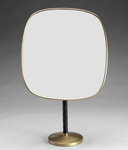 Josef Frank; Brass, Glass and Leather Table Mirror for Svenskt Tenn, 1940s.