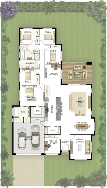 Coral Homes :: Casuarina Series features (Media lounge = a study, activity area = kitchen eating nook, omit bdrms. 3 & 4. Expand pantry into the room across from media lounge. Interesting if room sizes are large enough.)!!!