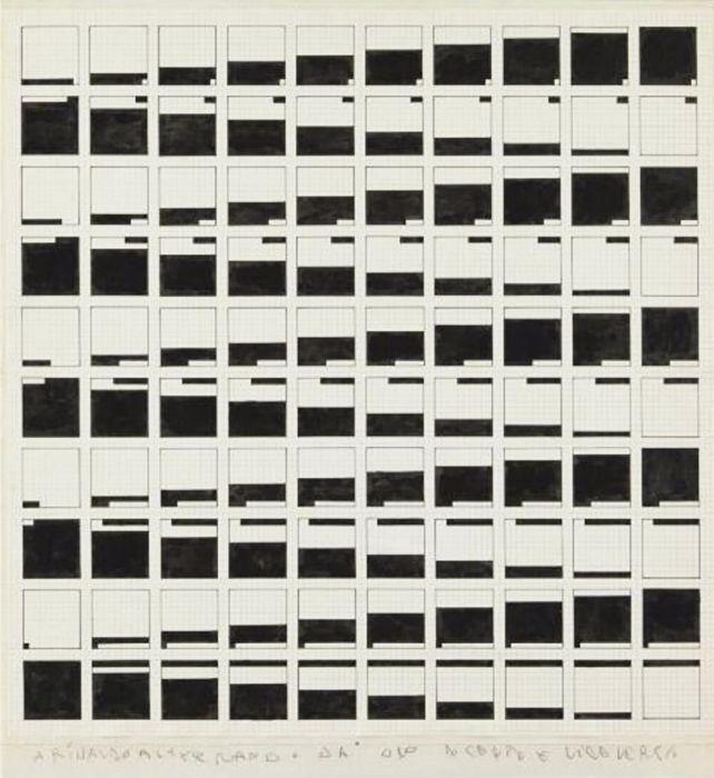 Alighiero Boetti, Alternando da uno a cento e viceversa, ca. 1977-1978, Archivio Alighiero Boetti