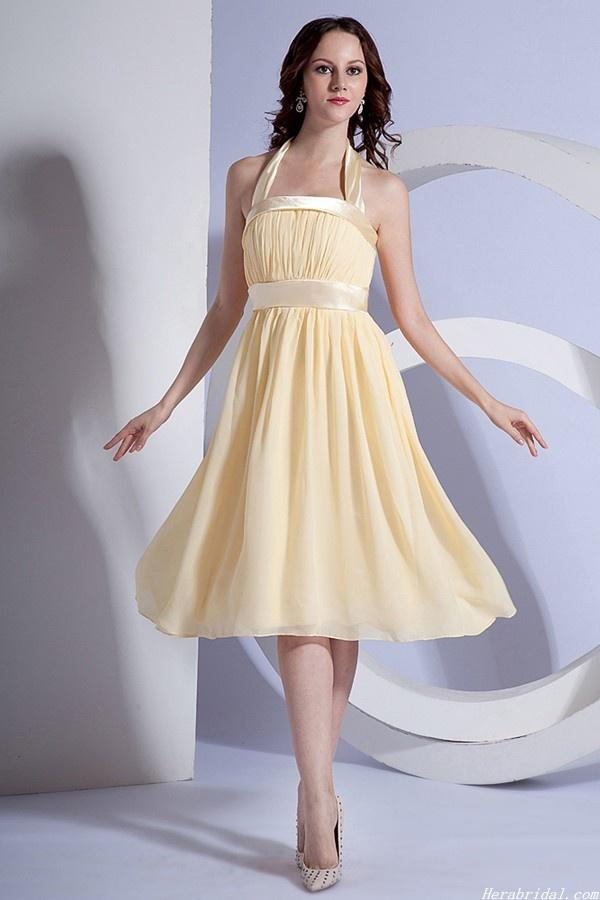 Elegant Halter Strap Yellow Chiffon Knee Length Prom Dress Formal Gown