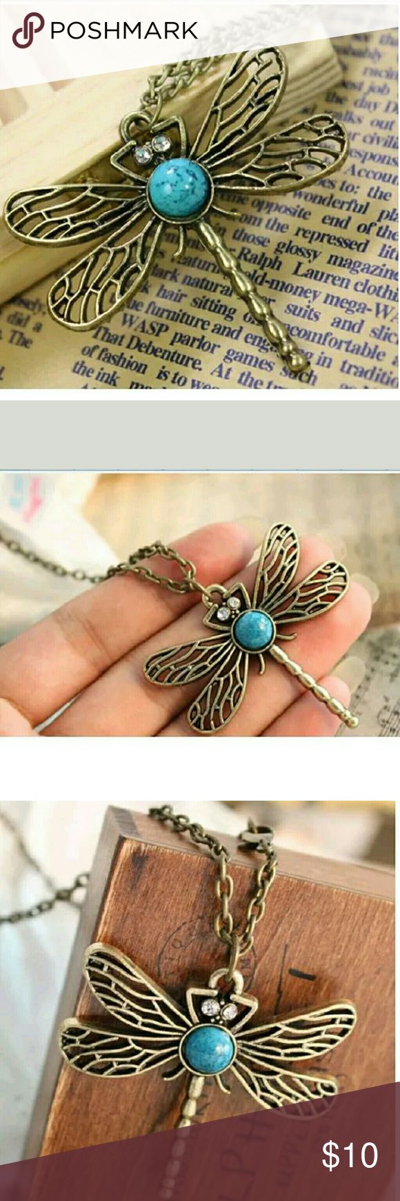 Dragonfly with Turquoise and Rhinestone Necklace Beautiful Dragonfly with Turquoise and Rhinestone Necklace Jewelry Necklaces