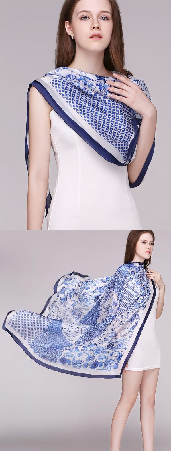 Blue and white impression 12mm silk Twill Exquisite printed hand curling scarf!More silk style at www.vividmoo.com