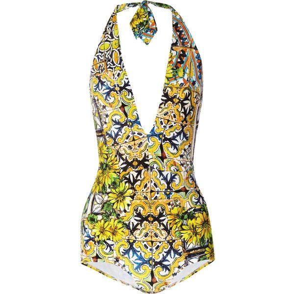 Dolce & Gabbana Printed Halterneck Swimsuit ($695) Liked