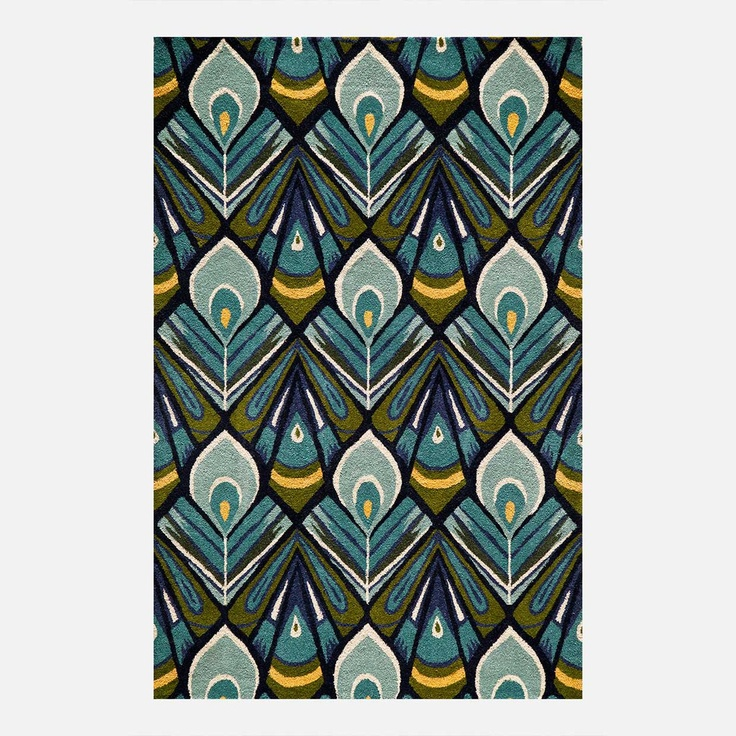 Feathers Wool Rug: Peacock Feathers, Ikat Rugs, Area Rugs, Plumag Area, Peacock Ikat, Wool Rugs, Peacock Rugs, Habitats Peacock, Momeni Habitats