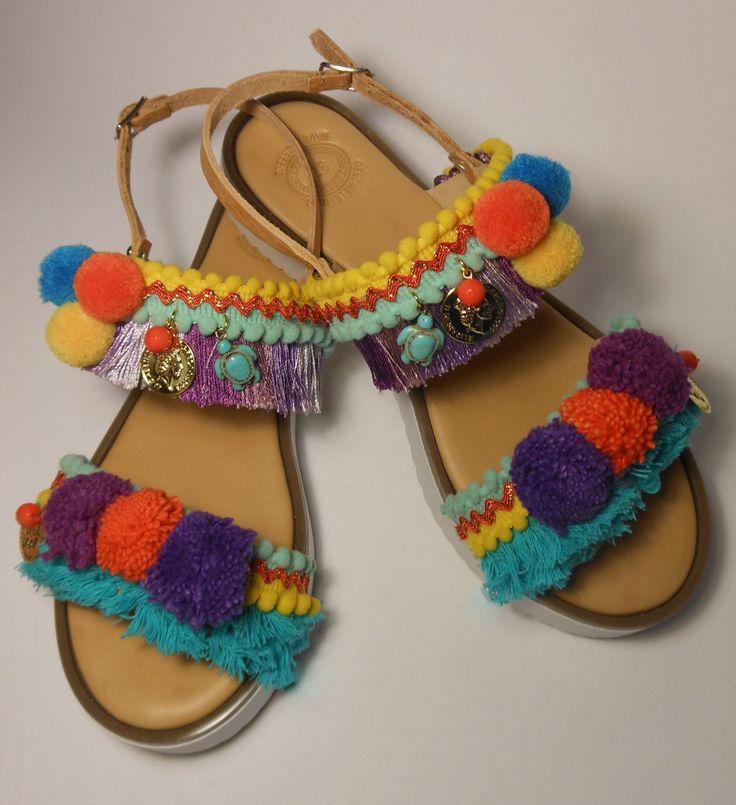 Sale! ZANTE CARETTA-CARETTA Greek Leather Sandals Pompoms White Sole, Turquoise Orange Yellow Purple Shades Boho Sandals for your Holidays by ENOTIA on Etsy
