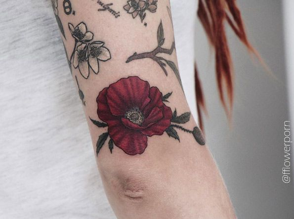 Red poppy tattoo by Olga Nekrasova