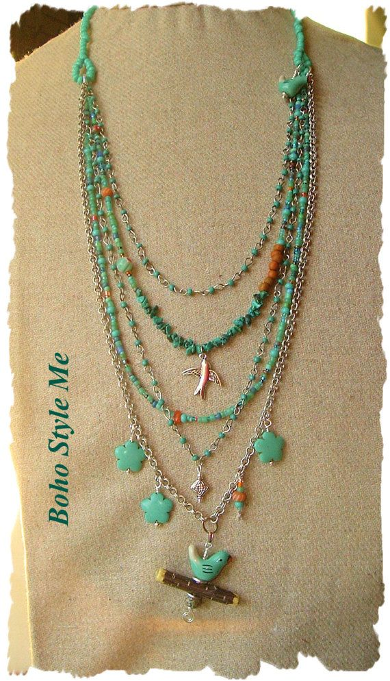 Bohemian Necklace Bird Lover Genuine Turquoise by BohoStyleMe