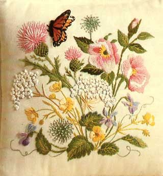 Erica Wilson, (8 October 1928-13 December 2011) was an English-born American embroidery designer, needlewoman and author; she was married to noted furniture designer Vladimir Kagan. Crewel embroidery.