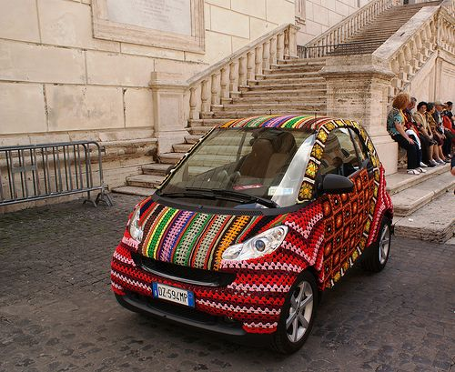 Spotted in the Yarniverse: Crochet-Covered Smart Car