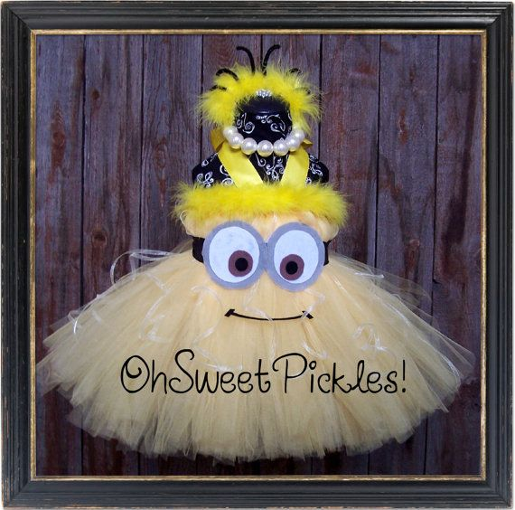 DESPICABLE ME MINION Halloween Costume Tutu Dress & Headband on Etsy....lol...Emma would LOVE!!!!