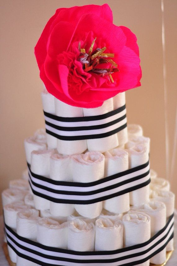 3 tier kate spade inspired diaper cake by