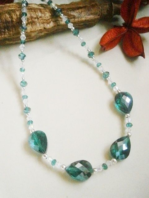 "20"" DARK EMERALD GREEN AND SILVER COLOURED BEADED NECKLACE £10  http://folksy.com/items/3522065-20-DARK-EMERALD-GREEN-AND-SILVER-COLOURED-BEADED-NECKLACE"