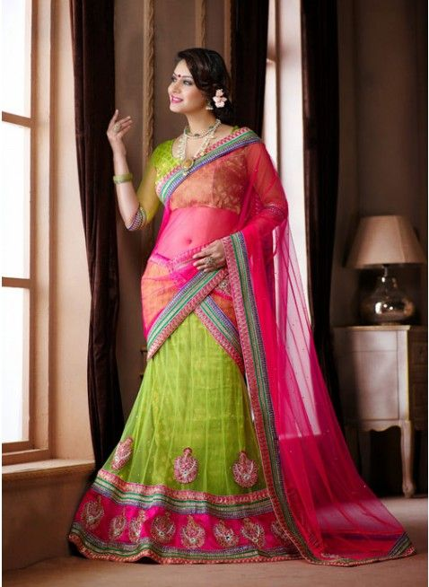 Dazzling Diva Lime Green color Net Based #Lehenga Choli