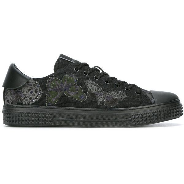 Valentino Garavani butterfly embroidery trainers (1,558 CAD) ❤ liked on Polyvore featuring men's fashion, men's shoes, men's sneakers, black, mens black shoes, mens black leather shoes, valentino mens shoes, valentino mens sneakers and mens black sneakers